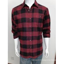 Chemise à manches longues en flanelle de coton Y / D pour homme