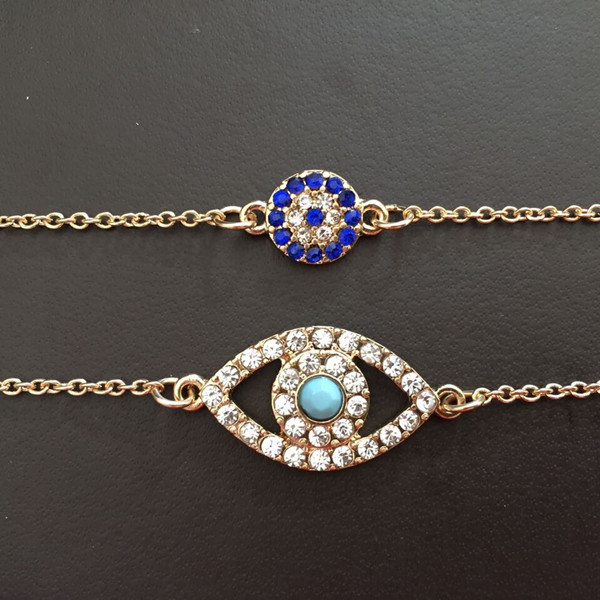 Blue Evil Eye Gold Bracelet