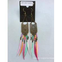 Colourful Feather Earrings with Beads