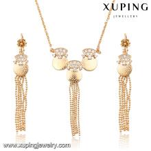 63904 Xuping bijoux de mode plaqué or boucles d'oreilles et collier