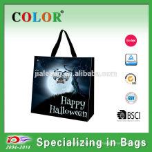 Wholesale pp wowen laminated tote pumpkin halloween bag
