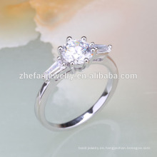 anillos de dedo de plata de niñas pequeñas de piedra blanca
