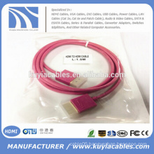 New Hot sell Short Slim Colorfull HDMI Cable 1.3/1.4V in Red,White,Blue,Black ,Green,Purple