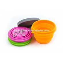 Moda Food Grade resistente ao calor Silicone Pet Bowl Travel portátil colapsável Acrílico Pet Bowl / colapsável Pet Dog Cat Bowl