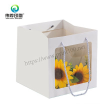 Customized Recyclable Take Away Flower Paper Gift Bag with Logo Printed