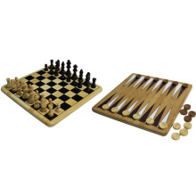 Bamboo Outdoor Backgammon Chess Game Set