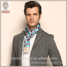 Plaid Pattern double two Layers self fringe Silk Men Scarf