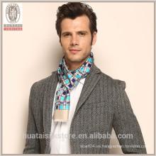 Plaid Pattern doble dos capas de franja de seda de seda hombres bufanda