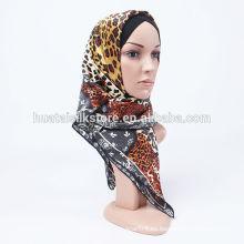 Nuevo 2014 seda de seda elegante marrón lepoard abaya hijab