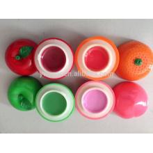 Fruit rond populaire hydratante Lip Balm Apple Peach Orange forme avec saveur différente