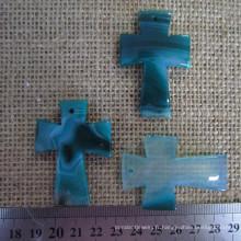 Agate bleu sarcelle Croix pendentif, pierre précieuse Croix pendentif