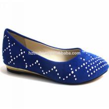 As mulheres pequenas da cunha da venda quente 2014 calçam sapatas graciosas Sapata azul de prata da bailarina