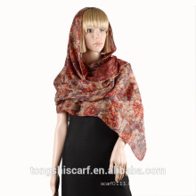 2016 Spring/Summer Lady's classic floral printed polyester voile long scarf shawl