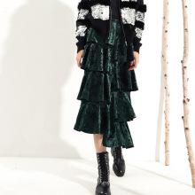 Ladies Asymmetric High Waist Ruffle Velvet Long Skirt