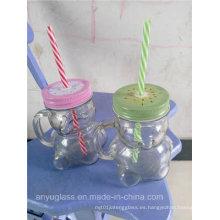 350ml Panda forma de vidrio taza de Mason Jar de beber