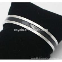 Barato personalizado feito pulseira de punho de esmalte de aço inoxidável