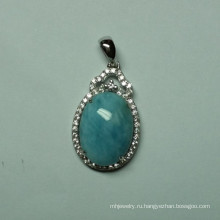 Природные Larimar стерлингового серебра ювелирные изделия Кулон (P0340)