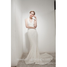 Sirena Halter Cuello tren tribunal con elegante vestido de novia de encaje AS30602