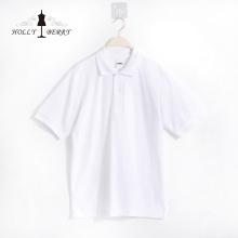 Повседневная дышащая простая белая рубашка поло с коротким рукавом