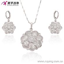Flor de moda de lujo en forma de CZ Crystal Rhodium Jewelry Set para Wedding 63272