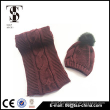 wholesale women's knit hat and scarf sets with pom pom