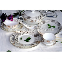 2014 new gorgeous embossed gold platinum design 12 15 24pcs new bone china dinner set porcelain ceramic cup & saucer