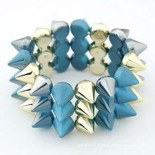 New Design Three Layers Rivet Bracelet Acrylique Multicolor Elasticity Bangles Et Bracelets BA07