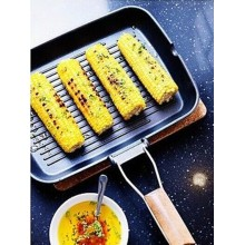 Carbon Steel Grill Pan With Wooden Handle