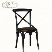 Venta al por mayor de muebles de China Alibaba comedor cafetería snack bar bistro cruz X respaldo de metal silla