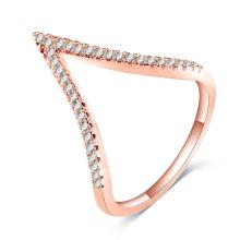 Cubic Zirconia Cristal V forma de dedo anillos de las mujeres (CRI1040)