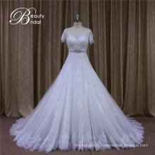 Короткие Рукава Открытая Спина Свадебные Платья