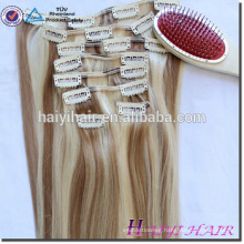 100% Unprocessed human hair full head 220g remy clip in curly hair extensions