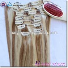 100% необработанные человеческих волос полной головки 220 г Реми клип в вьющиеся наращивание волос