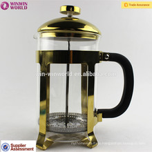 Hot Sale High Quality Copper - plating Stainless Steel French Press Coffee Maker with Stainless Steel infuser