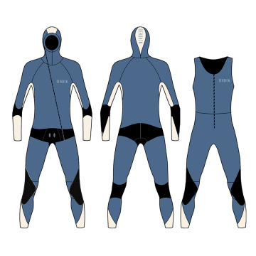 Seaskin 7mm dengan Hooded Two Piece Diving Suit