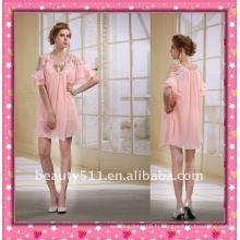 Astergarden Nouveau design Emma Roberts style perlé en mousseline de soie rose Robe courte AS032-5