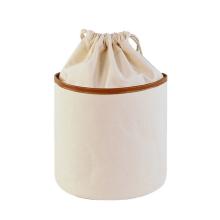 Large Capacity Eco Friendly Travel Round Barrel  Drawstring Canvas Cosmetic Bag Ivory Plain Makeup Bag