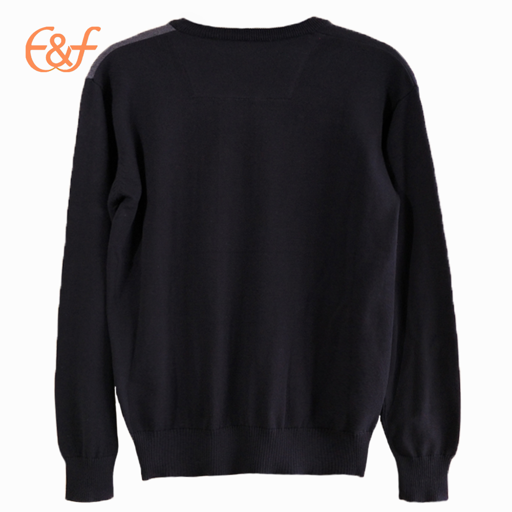 Men Fashion Pullover V Neck Sweater Knitting Pattern back look