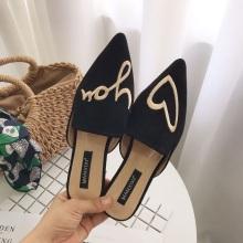 Schwarzer 3d Stickfleck weiblicher Slip On Schuhe
