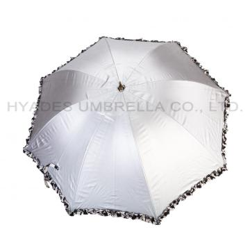 Frill Printed Silver Coating Hand Open Dome Paraply