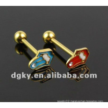 Gold plated wholesale lip tongue Pin piercing barbell jewellery