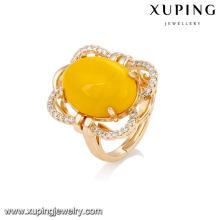 Anillo de dedo de las piedras preciosas artificiales de la joyería plateada oro de 14753 xuping jewelry graceful18k para la señora