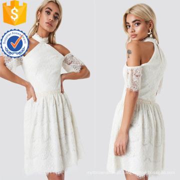 Ombro Frio Manga Curta de Renda Branca Mini Vestido de Verão Fabricação Atacado Moda Feminina Vestuário (TA0288D)