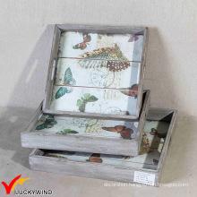 Butterfly Antique Rectangular Handmade Decorative Wood Tray