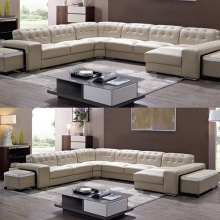 Italian Living Room Corner Leather Sofa Set