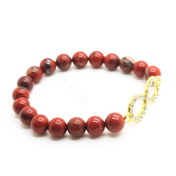 Red Jasper 8MM Round Beads Stretch Gemstone Bracelet with Diamante 8-shape Piece