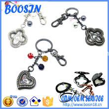 Porte-clés pendentif médaillon magnétique de mode avec breloques pour la vente en gros