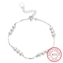 925 Sterling Stahl Armband Delicate Perle Silber Armband für junges Mädchen