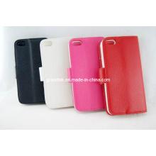 Venta caliente Lichee patrón Flip Wallet funda de cuero para iPhone5 accesorios (Rain-20130912-02)
