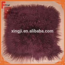 Cojín de piel de cordero Tíbet teñido